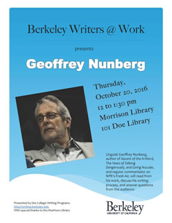 Poster for Berkeley Writers at Work featuring Geoffrey Nunberg