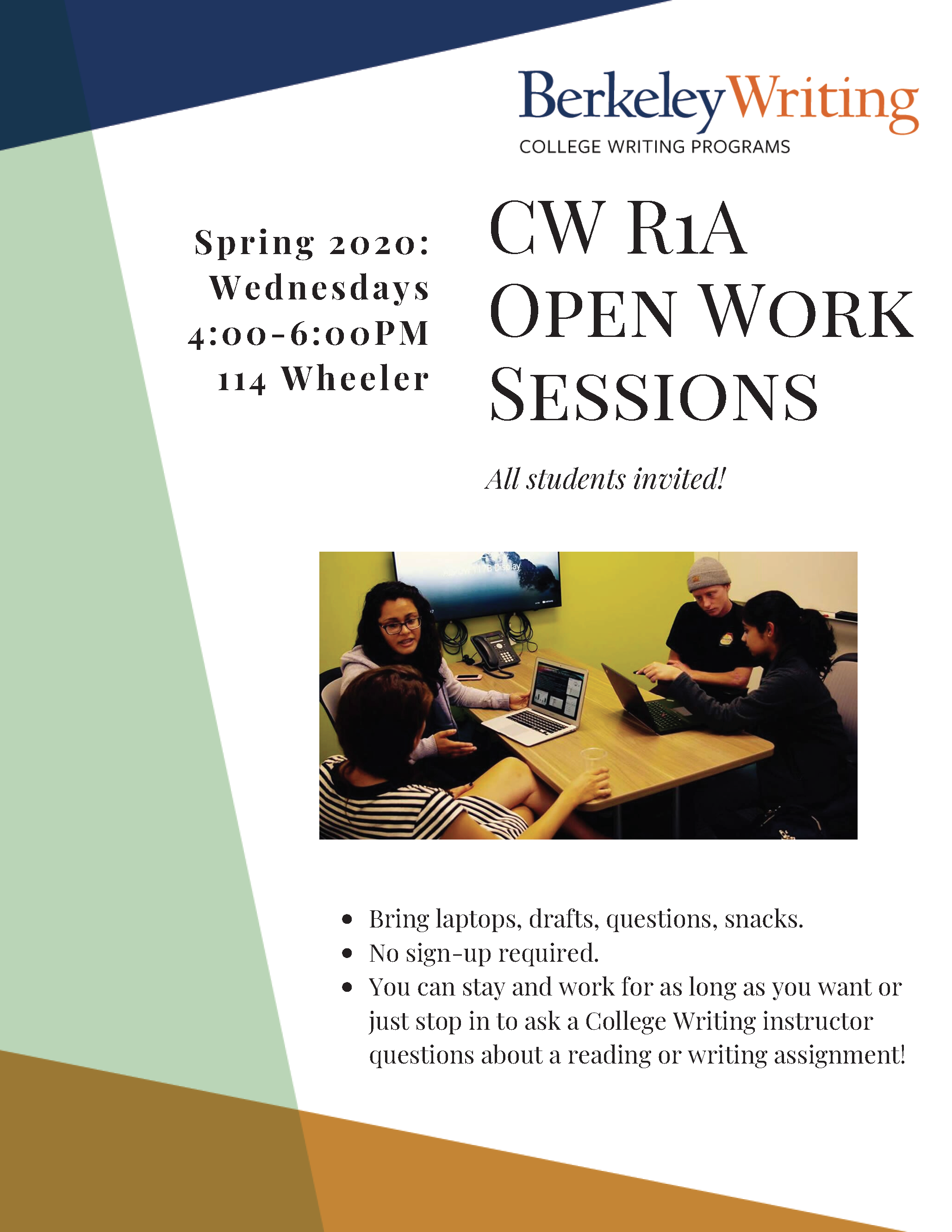 CWR1A Open Work Sessions Flyer