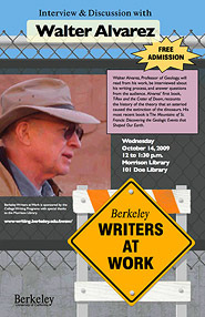 Poster for Berkeley Writers at Work featuring Walter Alvarez