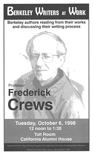 Poster for Berkeley Writers at Work featuring Frederick Crews
