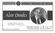 Poster for Berkeley Writers at Work featuring Alan Dundes