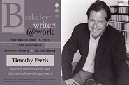 Poster for Berkeley Writers at Work featuring Timothy Ferris