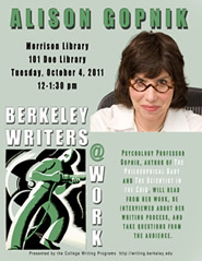 Poster for Berkeley Writers at Work featuring Alison Gopnik