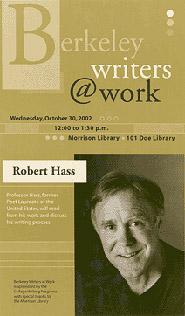 Poster for Berkeley Writers at Work featuring Robert Hass