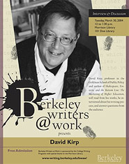 Poster for Berkeley Writers at Work featuring David Kirp