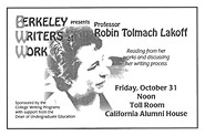 Poster for Berkeley Writers at Work featuring Robin Lakoff