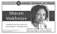 Poster for Berkeley Writers at Work featuring Bharati Mukherjee