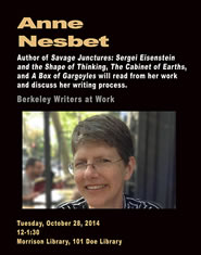 Poster for Berkeley Writers at Work featuring Anne Nesbet