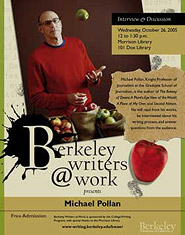 Poster for Berkeley Writers at Work featuring Michael Pollan