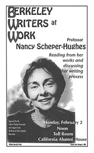 Poster for Berkeley Writers at Work featuring Nancy Scheper-Hughes