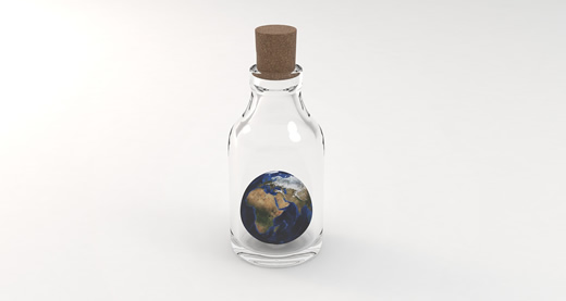the planet Earth inside a corked glass bottle
